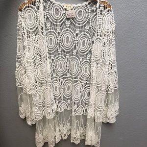 NWT POL Boutique Crochet Lace Cardigan Boho S/M